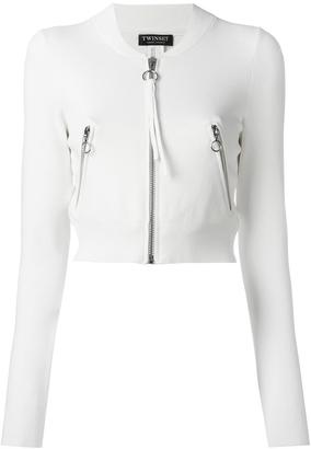Twin-Set cropped zipped cardigan $169.39 thestylecure.com