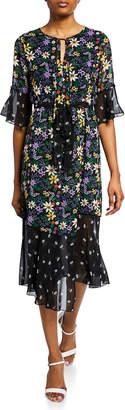 Neiman Marcus Floral-Print Chiffon Wrap Dress