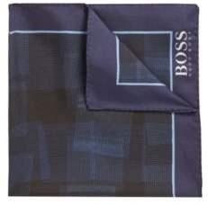 BOSS Hugo Italian-made silk pocket square digital print One Size Open Blue