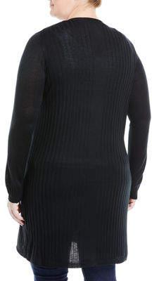 Neiman Marcus Plus Long Open-Front Cardigan, Plus Size