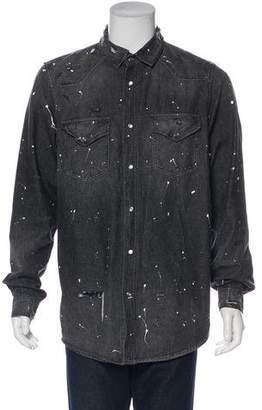 Amiri Distressed Denim Shirt