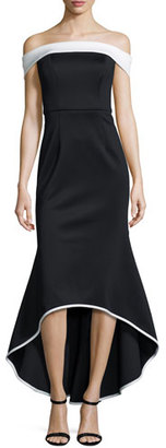 Black Halo Off-the-Shoulder Two-Tone Satin Mermaid Gown, Black/White $690 thestylecure.com