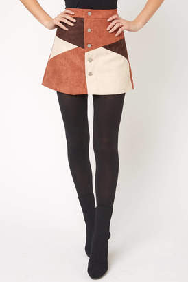 Raga Faux Suede Colorblock Button Up Mini Skirt