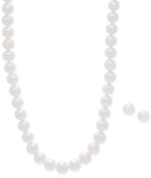 Honora Style Cultured Freshwater Pearl Collar Necklace (9mm) and Matching Stud Earrings (8-1/2mm) Set