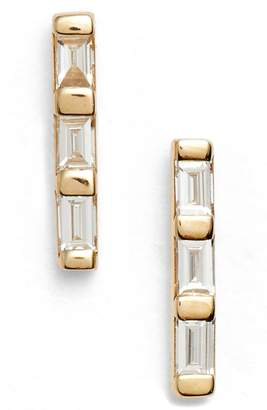 Ef Collection Diamond Bar Stud Earrings