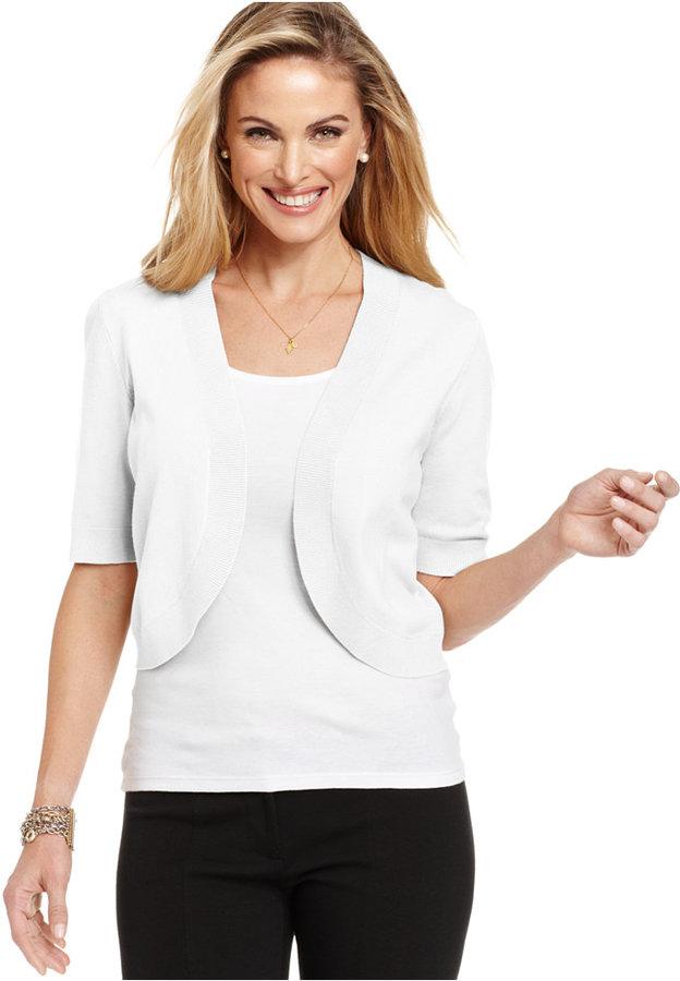 Charter Club Short-Sleeve Bolero Sweater