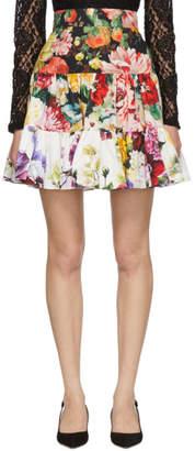 Dolce & Gabbana Multicolor Poplin Ortensia Miniskirt