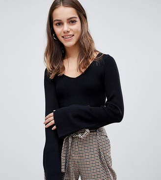 Brave Soul Petite zodiac sweater with flare sleeves