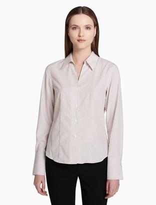 Calvin Klein striped non-iron cotton button front long sleeve top
