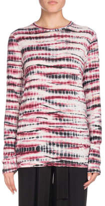 Proenza Schouler Crewneck Long-Sleeve Tie-Dye Cotton T-Shirt
