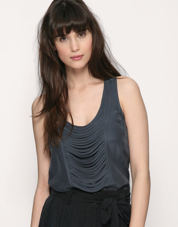 Warehouse Fringe Trim Silk Vest
