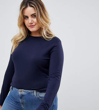 Asos DESIGN Curve ultimate top with long sleeve and crew neck in navy