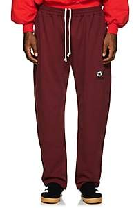 Gosha Rubchinskiy Men's Embroidered Cotton Terry Sweatpants - Wine