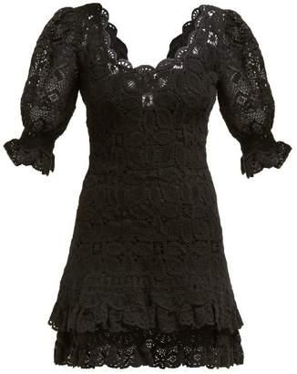 Jonathan Simkhai Scalloped Edge Crochet Knit Mini Dress - Womens - Black