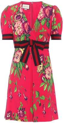 Gucci Floral Print Crepe Mini Dress