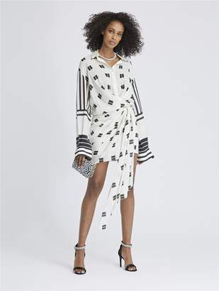 Oscar de la Renta Geo Squares and Mixed Stripes Shantung Voile Wrap Shirtdress