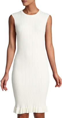 John & Jenn Meredith Ribbed Ruffle-Hem Bodycon Dress