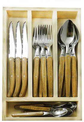 Jean Dubost Le Thiers 24Pc Flatware Set With Oak Handles