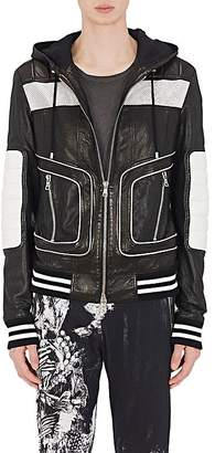 Balmain Men's Perforated Leather Hooded Jacket