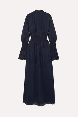 ADAM by Adam Lippes Shirred Cotton-voile Jacquard Maxi Dress - Navy
