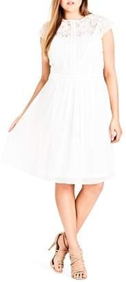 City Chic Lace & Chiffon Dress