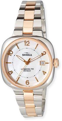 Shinola 36mm Women's Gomelsky Two-Tone Bracelet Watch, White/Rose