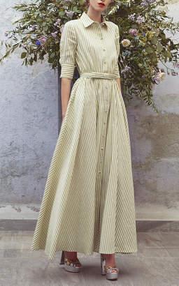 Luisa Beccaria Striped Three Quarter Sleeve Dress