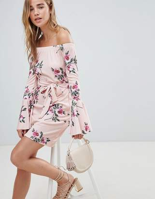 Lasula Floral Off Shoulder Dress With Tie Waist