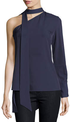 Neiman Marcus Few Moda Neck-Tie One-Shoulder Blouse