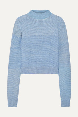 The Elder Statesman Distressed Cashmere Sweater - Light blue