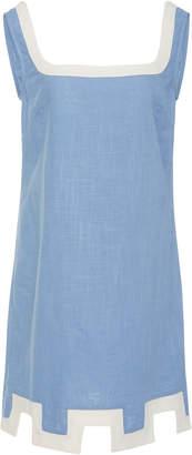Staud Marge Cutout Chambray Mini Dress