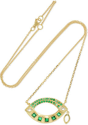 Brooke Gregson 18-karat Gold, Emerald And Diamond Necklace