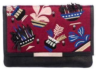 Lizzie Fortunato Embellished Leather Flap Clutch