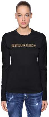 DSQUARED2 Sequined Logo Cotton Jersey T-Shirt