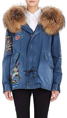 Mr & Mrs Italy Women's Fur-Trimmed Cotton Canvas Mini Parka