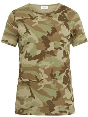 THE WHITE BRIEFS Camo Print Cotton T Shirt - Mens - Green Multi