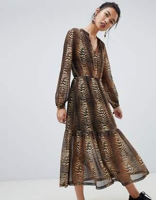 NA-KD tiger print maxi dress