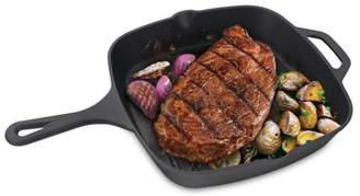 Cast Iron Skillet, Jim Beam Cast Iron Square Grilling and Barbecue Pan with Ridges, 10 inch Pre Seasoned Skillet Cast iron Pan