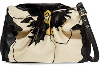 Valentino Garavani Bloomy Floral Leather And Snakeskin-effect Shoulder Bag - Black