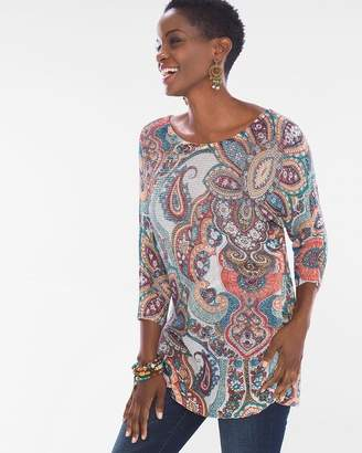 Chico's Chicos Paisley Cross-Back Detail Sweater