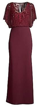 Aidan Mattox Women's Beaded Popover Waist Gown - Size 0