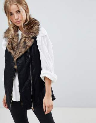 Urban Bliss 3/4 Fur Trim PU Vest