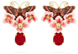 Dolce & Gabbana Butterfly And Crystal Drop Clip On Earrings - Womens - Multi