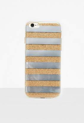 Missguided Silver Glitter Mirror Stripe iPhone 6/6S Case
