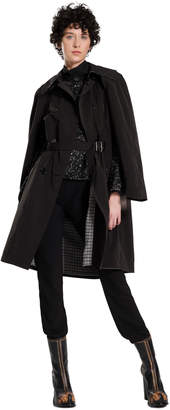 Max Studio wool plaid-lined trench coat