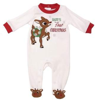 N. Rudolph the Red-Nosed Reindeer Baby's First Christmas Velour Sleep N' Play Pajama (Baby Boys or Baby Girls Unisex)