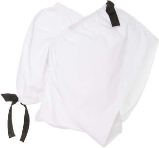 Rosetta Getty Asymmetric Bow-Embellished Cotton Blouse