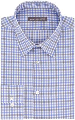 Geoffrey Beene Men's Fitted Tattersall Point Collar Dress Shirt