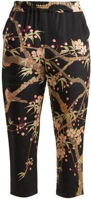BY WALID Morton Cherry Blossom-print silk cropped trousers