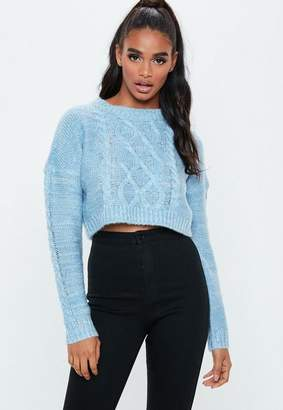 Missguided Blue Crew Neck Cropped Cable Neck Sweater